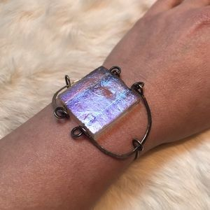 Iridescent Glass Tile Hammered Silver Bracelet